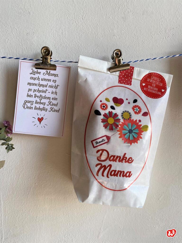 Weiße Wunderle Wundertüte Danke Mama und kleine Karte