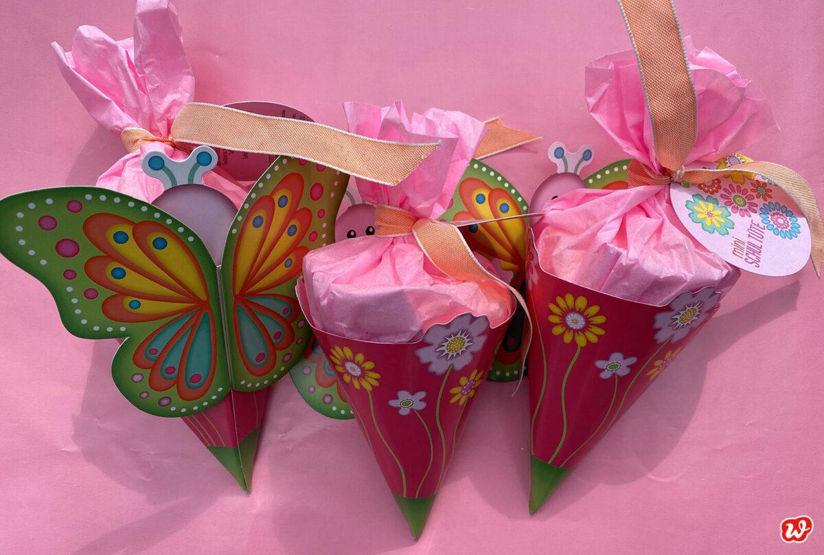 Rosa Schmetterlingsschultüten