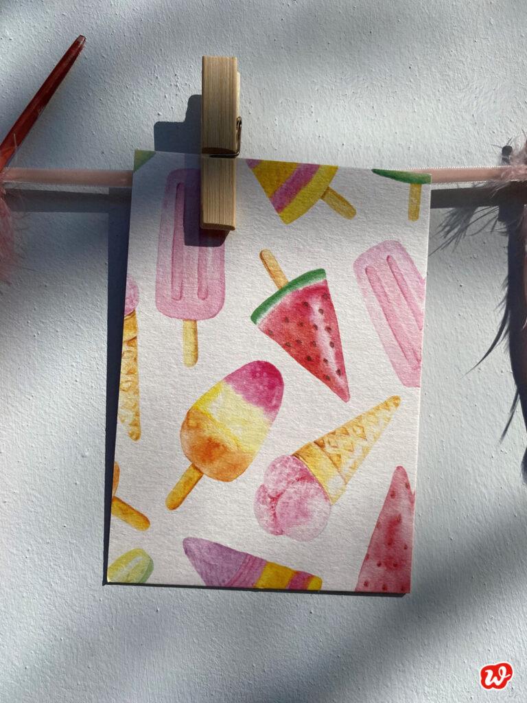 Eispostkarte in Pastelltönen