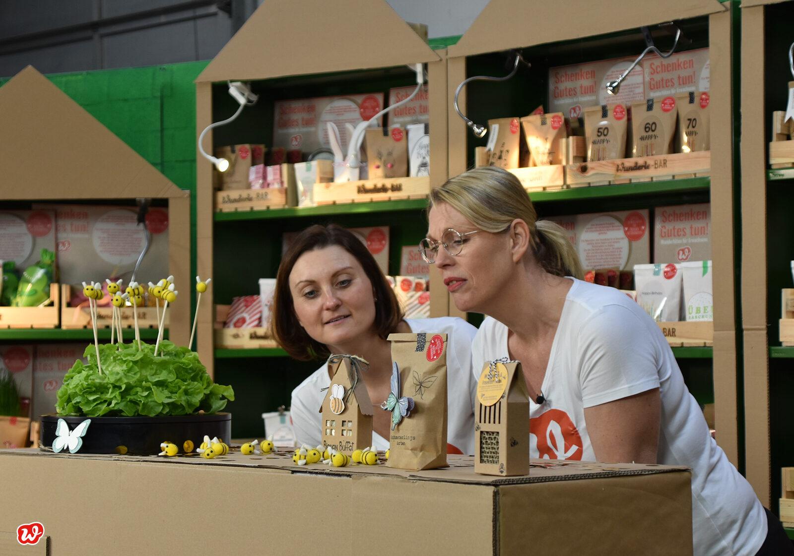 Frau Büscher und Frau Adomeit staunend vor Geschenken für Insektenfreunde